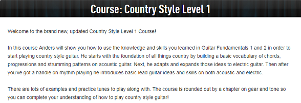 Country Guitar Lessons Country Style Level 1